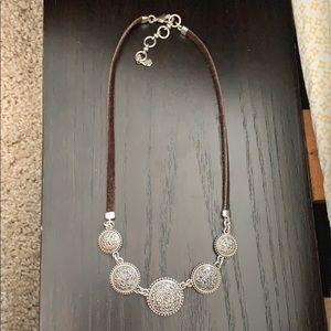Lucky brand leather and silver necklace.